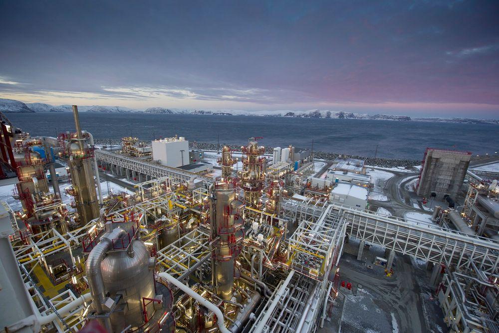 Statoils prosessanlegg på Melkøya er stanset etter en gasslekkasje søndag.