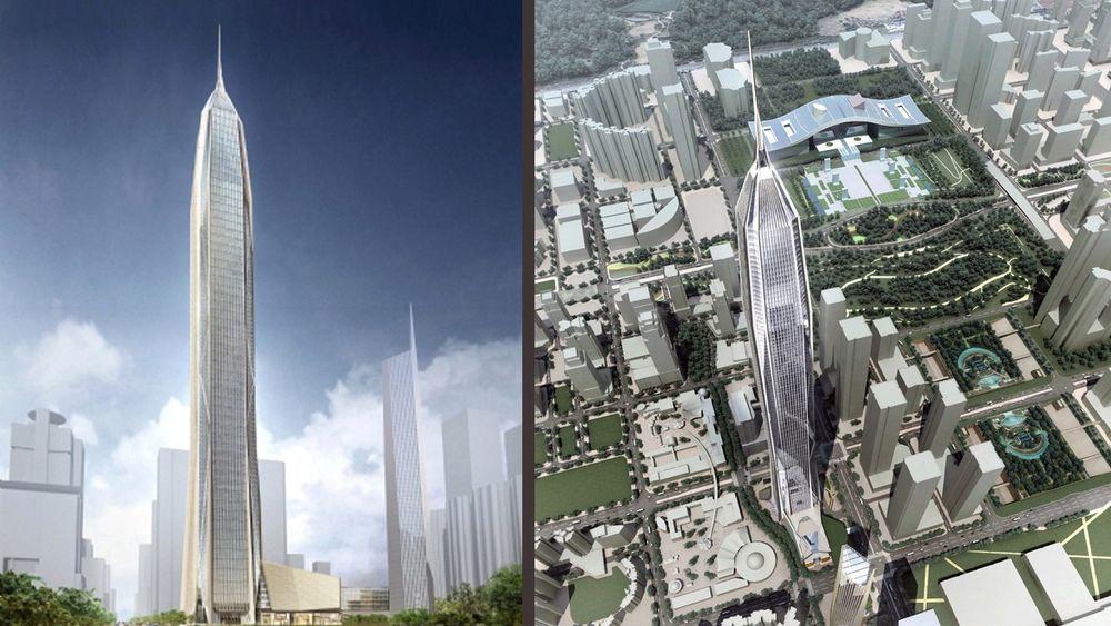 Ping'an International Finance Center skulle blitt verdens nest høyeste bygg, men nå er alt stanset.