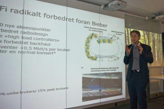Klar for Bieber: Dekningsdirektør i Telenor, Bjørn Amundsen, forteller at selskapet har gjort svært mye for å forhindre telekollaps når titusener tunge smartelefonbrukere i form av av tenåringsjenter rykker inn på Telenor Arena.
