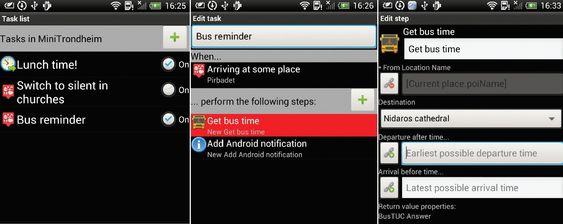 Skjermdumper fra UbiComposer for Android viser tre forskjellige trinn i en komponeringsprosess.