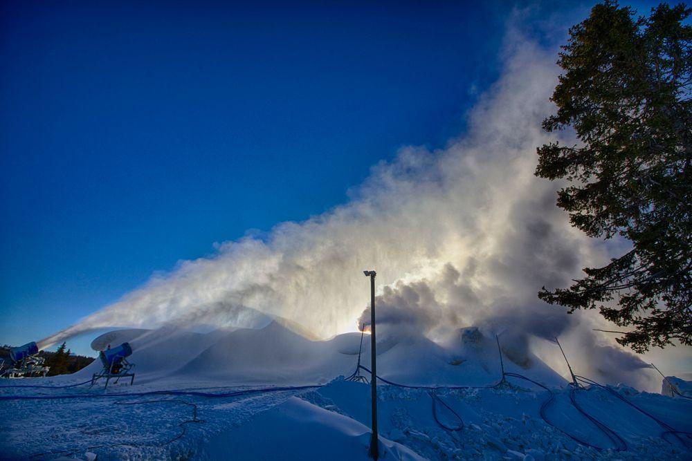 HVITT GULL: Intens snøproduksjon frem til påske gjør at Beitostølen kan garantere sesongstart for langrennsløperne i slutten av oktober. 20.000 m3 snø dekkes nå av flis for å kunne graves frem igjen til høsten. FOTO: Nicolay Flaaten
