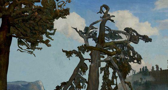I kortfilmen kan du reise inn i Lars Hertevigs kjente maleri Gamle furutrær fra 1866 ved hjelp av 3D-modellering.