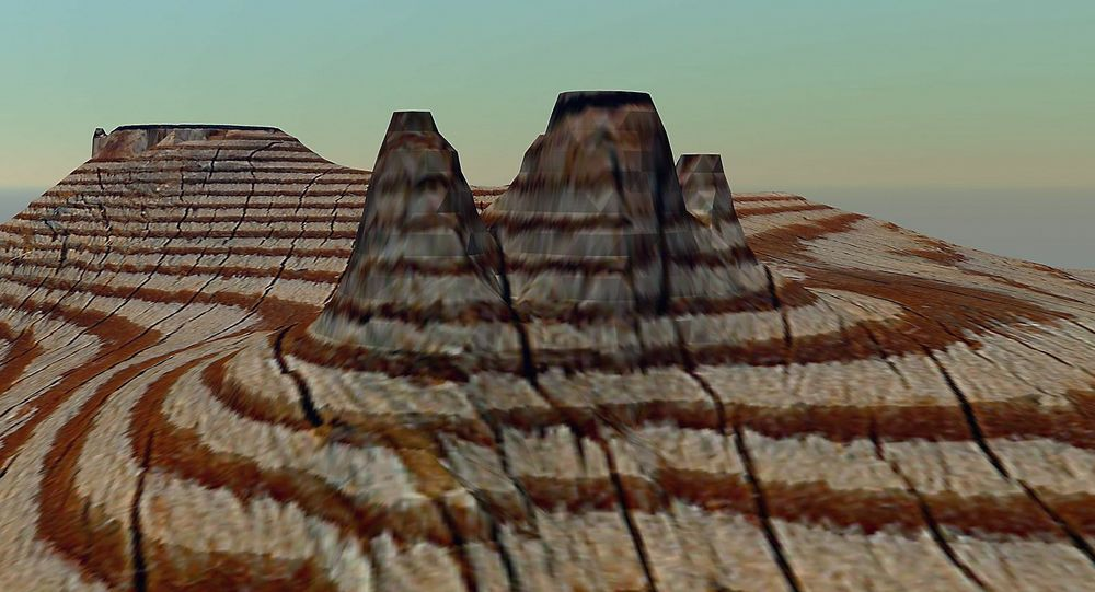 Dette landskapet er skapt ved at årringene i finerplater er tolket som høydekoter i kart.