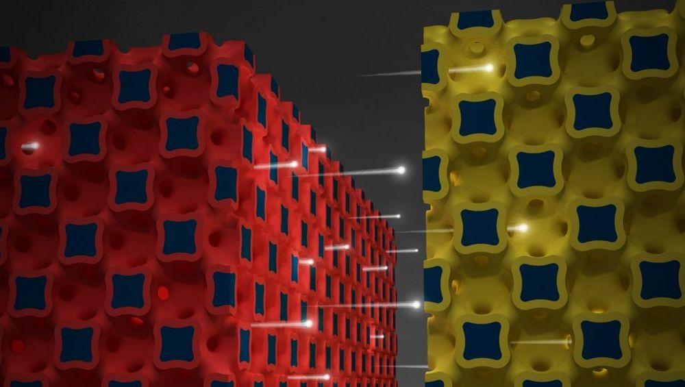 Illustrasjonen skal forestille ioner som flyter mellom tredimensjonale mikroelektroder i det nyutviklede batteriet.
