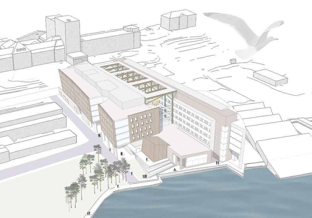 Nytt: Framsenteret kan bli Nord-Norges første kontorbygg med passivhusnivå, men Statsbygg har skrinlagt passivhusambisjonen for lysgården som planlegges mellom eksisterende bygg (til venstre) og den nye bygget (til høyre). Ill.: PKA Arkitekter, Rambøll og HENT.