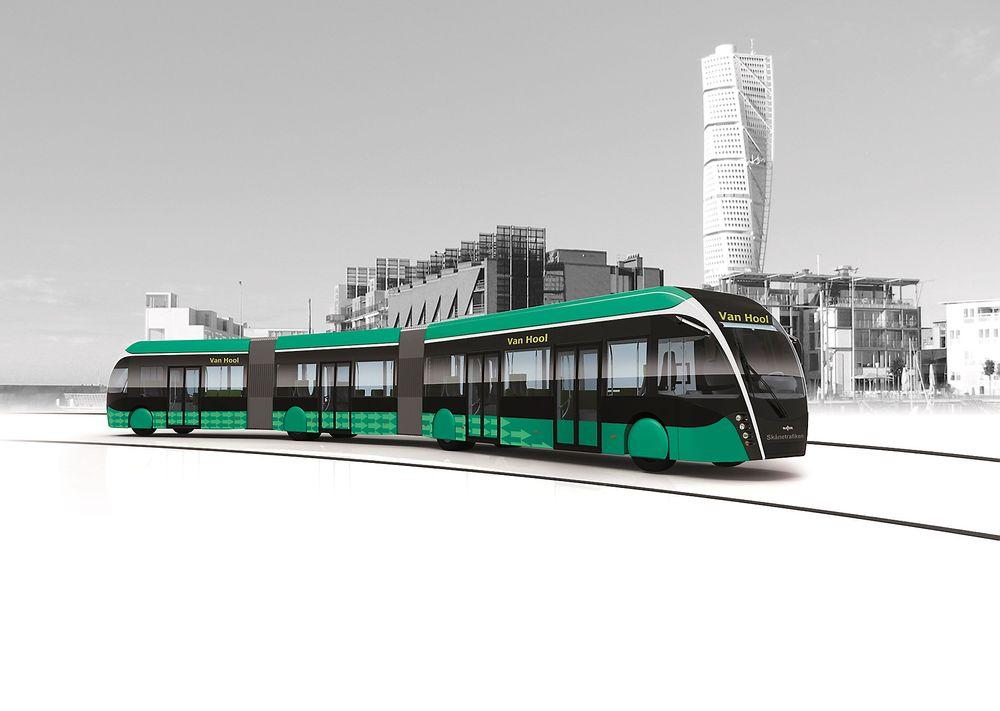 Den futuristiske trikkebussen Exqui skal snart rulle rundt i Malmø.