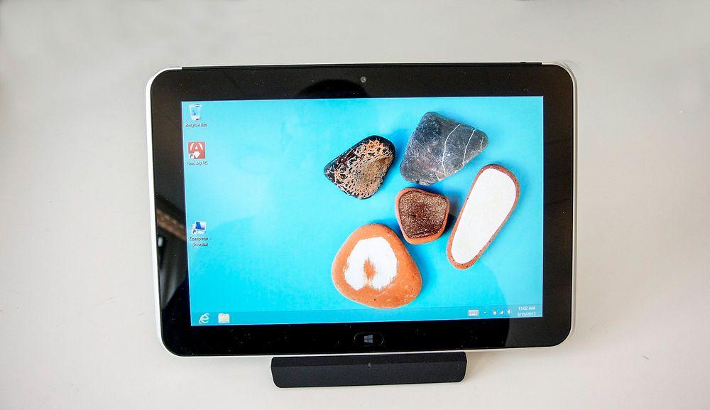 Mini-PC: HPs ElitePad kan brukes som stasjonær PC når det settes i dokken