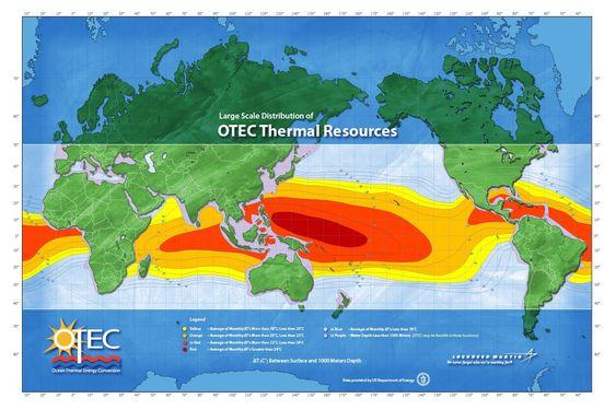 Kartet viser hvor potensialet for termisk havenergi er størst.