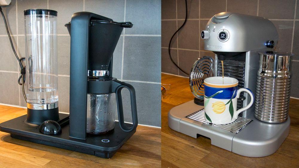 Til venstre: Wilfa Svart Presisjon. Til høyre: Nespresso Gran Maestro.