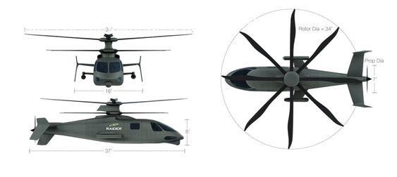 Slik blir dimensjonene på S-97 Raider. Maksimal takeoffvekt er 5 tonn.