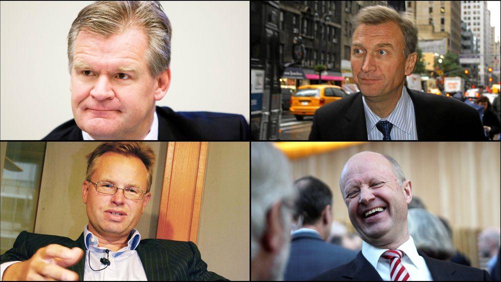 Disse er øverst på Teknisk Ukeblads oversikt, øverst fra venstre Fredriksens høyre hånd Tor Olav Trøim, PGS-sjef Jon Erik Reinhardsen, Visma-sjef Øystein Moan og Yara-sjef Jørgen Ole Haslestad.