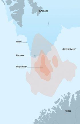 Olje: De brune feltene viser tettheten av oljepartikler, hvorav det mørkeste feltet viser områder der det er mer enn 80 prosent sannsynlighet for å finne olje. Iskanten er basert på data fra mars 2011.