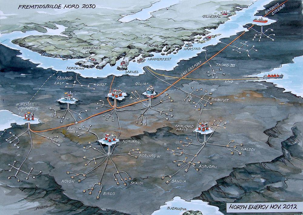 North Energy ser for seg at Barentshavet kan se omtrent slik ut i 2030. Men styreleder Johan Petter Barlindhaug mener bransjeorganisasjonen Norsk olje og gass er med på å bagatellisere utfordringene i nord.