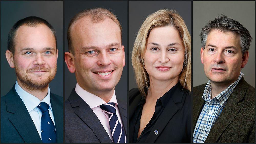 Disse statssekretærene har alle ingeniør- eller sivilingeniørbakgrunn. Fra venstre Amund Drønen Ringdal (H), Kristian Dahlberg Hauge (FrP), Dilek Ayhan (H) og Bjørn Haugstad (H).