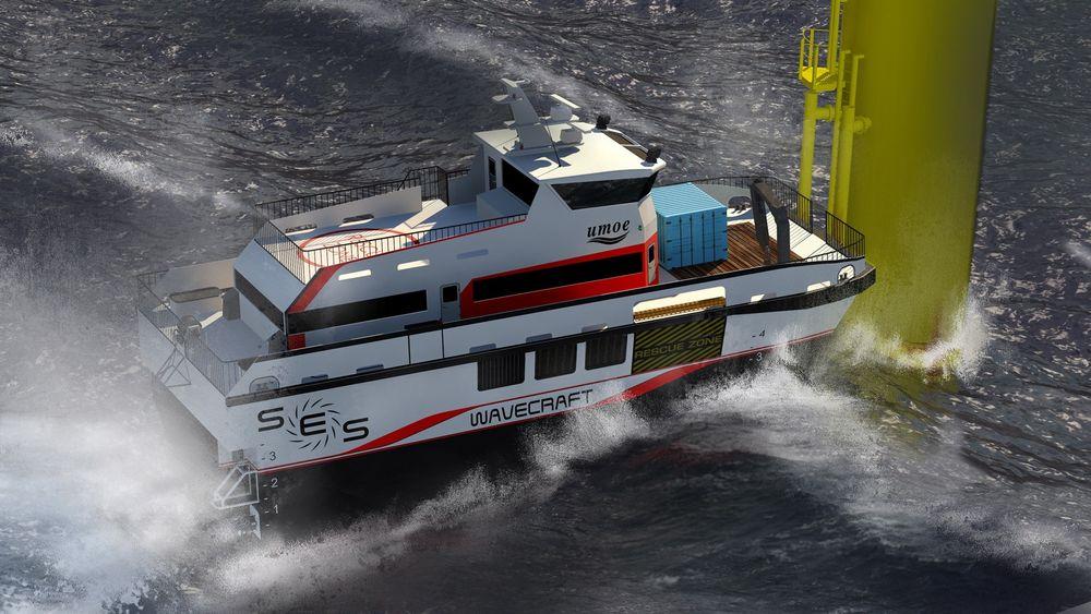 FORSVARSTEKNOLOGI: De nye vedlikeholdsbåtene fra Umoe Mandal skal kunne brukes inn mot vindturbiner i en signifikant bølgehøyde på opp mot 2,5 meter og holde en toppfart på 40 knop. Det blir gjort mulig av luftputeteknologi som først ble brukt i verftets korvetter i Skjold-klassen.