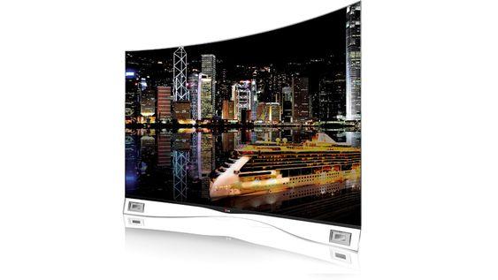 Buet: Den er bare 4,3 mm tynn og veier inn på 17 kilo den nye lett buede 55 tommer Oled-TV-en til LG.