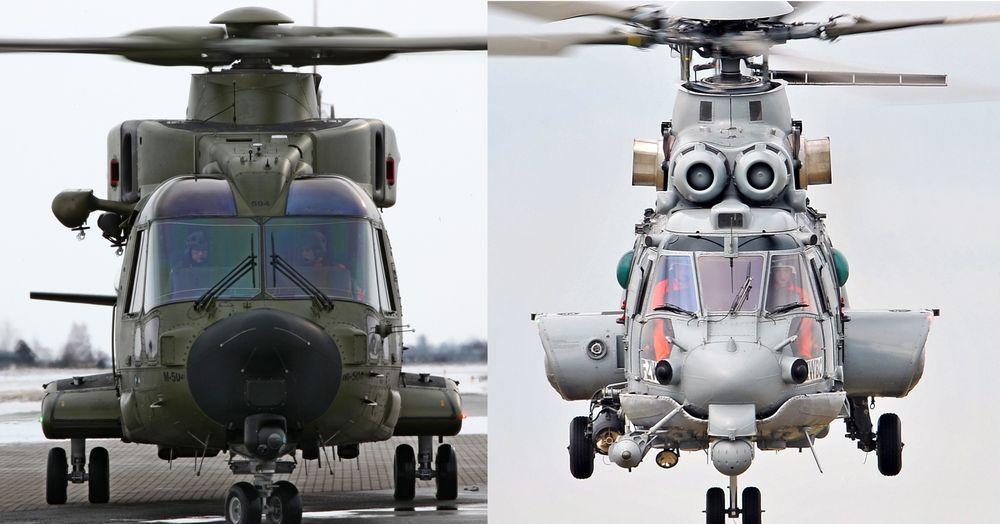 Norge skal handle minst 16 helikoptre enten av typen AW101 (t.v) fra Agusta Westland eller EC725 fra Eurocopter.