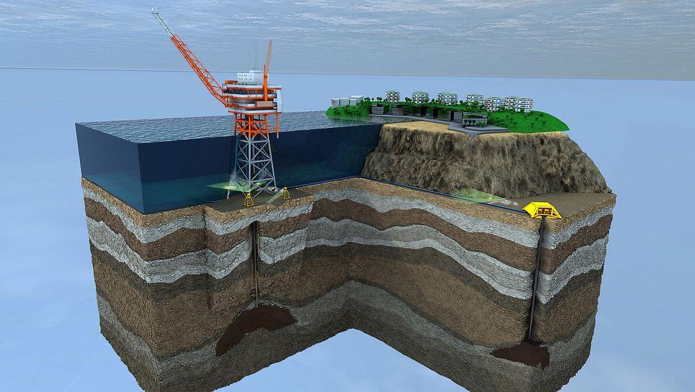 DETEKTERER RASKT: Det finnes i dag ikke noe fullgodt system for å detektere gasslekkasjer rundt brønner, rør og andre installasjoner under vann. Nå mener norske Stinger at de har løsningen. Til venstre på bildet, under plattformen, ser man sensorer som oppdager gasslekkasjer. Til høyre ser vi sensorer som overvåker rørledningen som er koblet til plattformen. Disse systemene overvåker plattformen og strukturene rundt 24 timer i døgnet.