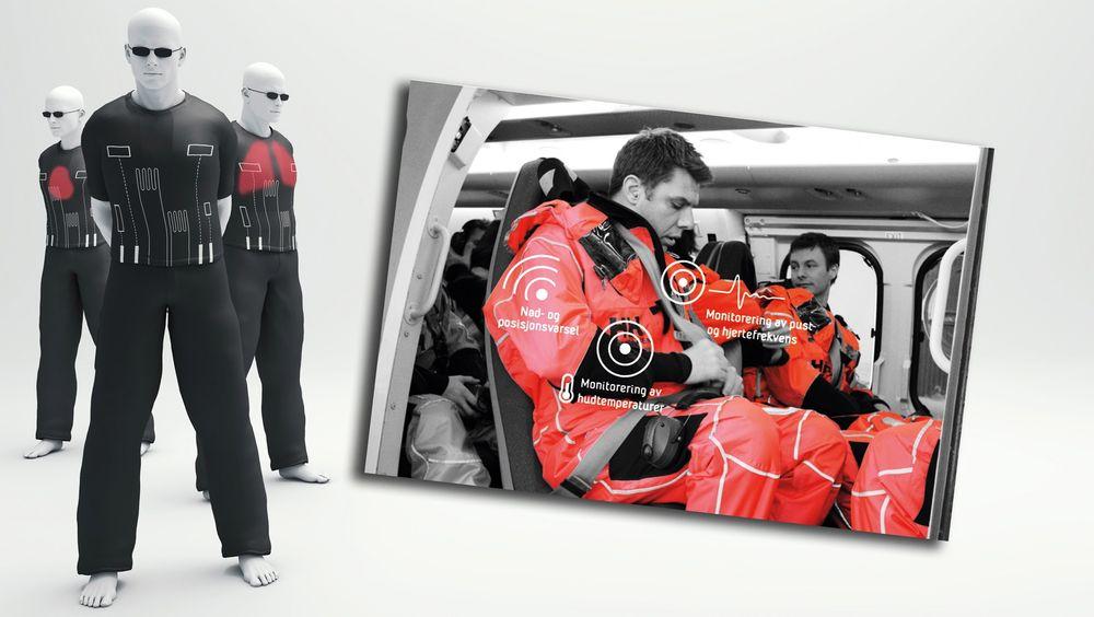 Fremtidsdrakt:  I fremtidens redningsdrakter kan man se for seg elektronikk/sensorer/nødpeilesystemer og andre funksjoner integrert i tekstil for økt sikkerhet og komfort.