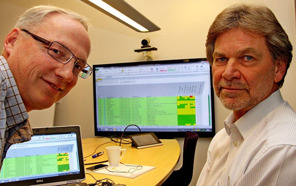 KAMERATER: Christian Nygaard (t.v.) og Per Solvang fra Evry har pådratt seg kallenavnet Excel-Kameratene under oppdraget hos Statens vegvesen.