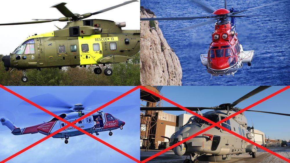AgustaWestland og Eurocopter er fortsatt med i konkurransen om å levere Norges nye redningshelikopter. NHIndustries og Sikorsky er vraket.