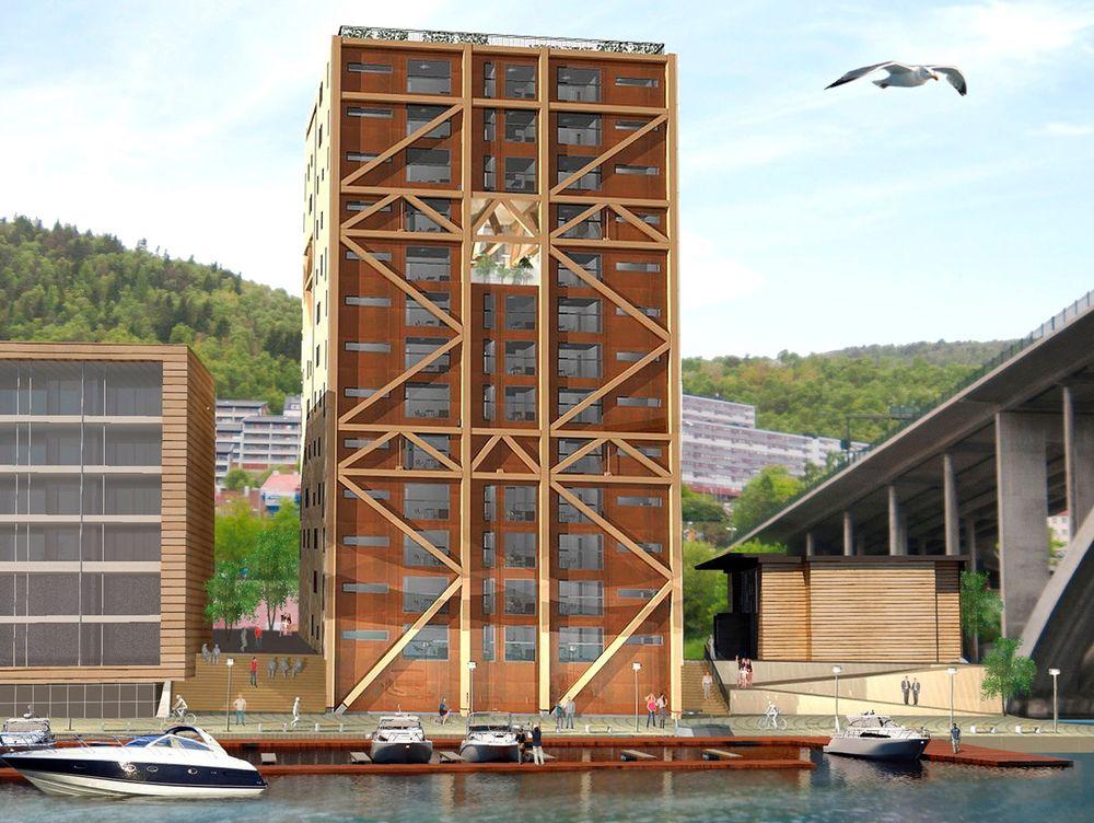Innovasjon Norge og Norske arkitekters landsforbund vil støtte utbyggere som vil bygge i tre i stedet for stål og betong. Her den nye treblokken i Bergen som ligger an til å bli verdens høyeste.