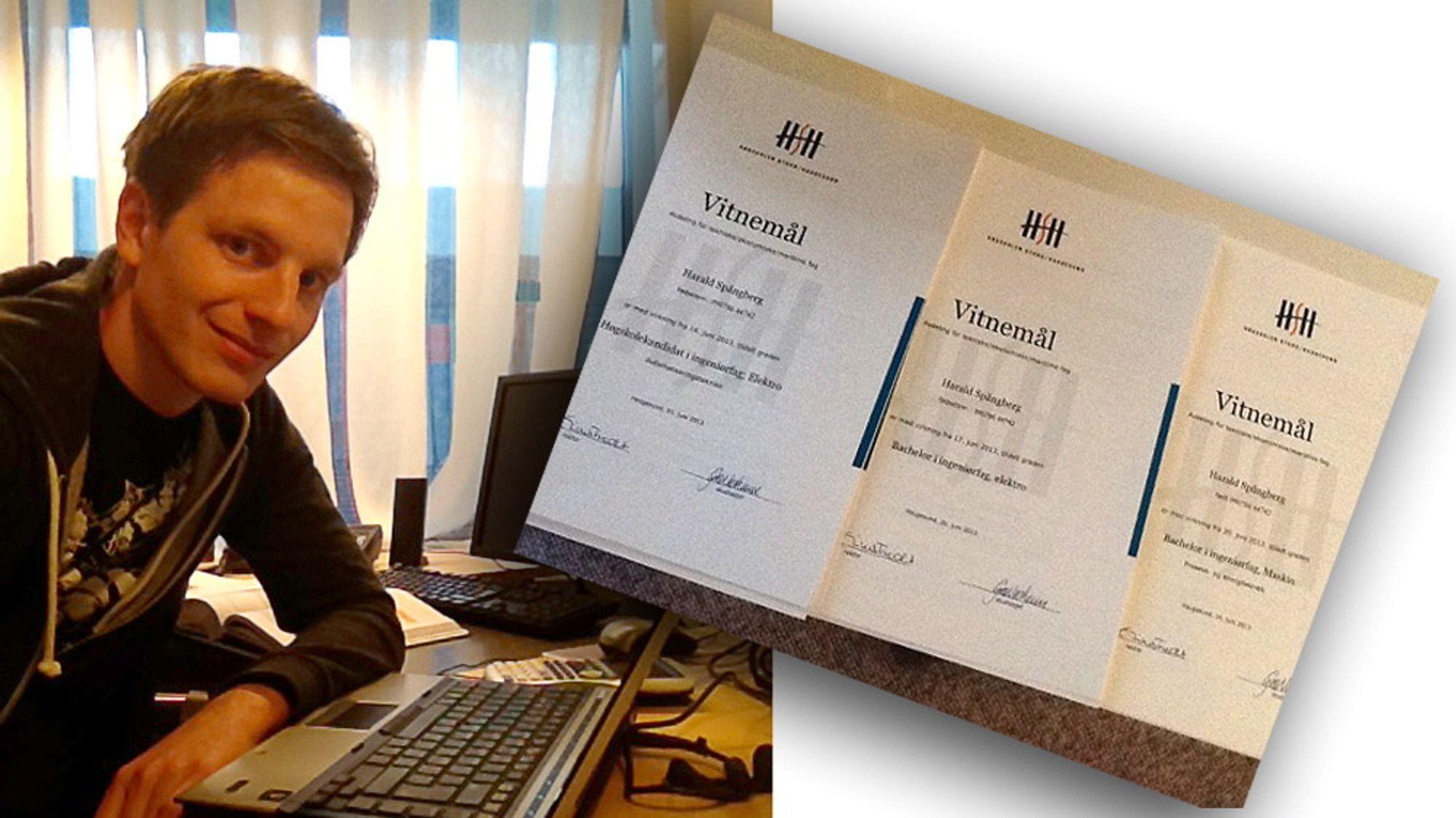 Harald Spångberg tok totalt tre grader på tre år. To bachelorgrader og en kandidatgrad.
