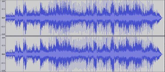 Bilde 2. Her er «The closest thing to Crazy» med Katie Melua. Her er det masse å gå på når det gjelder dynamikk (avstanden fra signalet og til verdien 1.0 ). Det låter fint, og det gjør det også selv om den blir avspilt i MP3 fra 192 kbps og oppover.