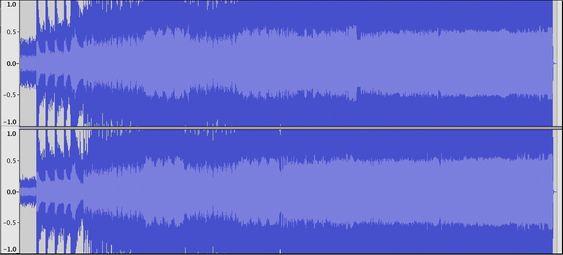 Bilde 1. «The day that never comes» av Metallica ( Fra Death Magnetic ) låter fryktelig også på CD, og kan lett forveksles med en hardt komprimert MP3-fil. Svaret på hvorfor ser du her. Her er det digital klipping omtrent hele veien.