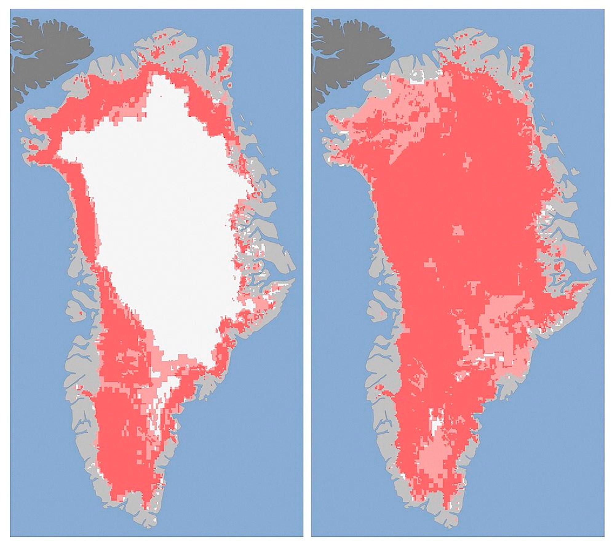 Disse to kartene bygd på satellittfotografier fra USAs romfartsorganisasjon NASA viser hvor raskt overflaten på innlandsisen på Grønland smeltet i perioden fra 8. juli til 12. juli i år.