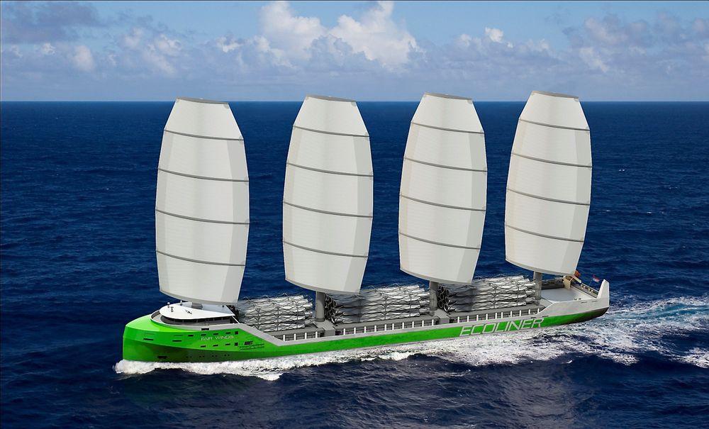 Ecoliner-konseptet til Dykstra er et firemasters flerbruksskip med kapasitet på 8000 dødvekttonn og lengde på 138 meter.