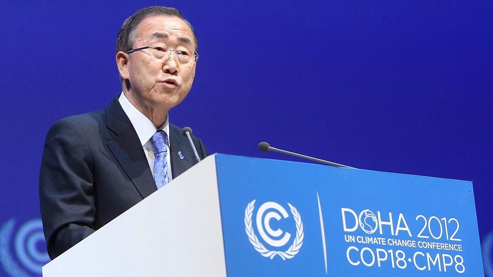 FNs generalsekretær Ban Ki-moon advarte om klimakrise under åpningen av høynivådelen av FNs klimakonferanse i Qatars hovedstad Doha tirsdag.