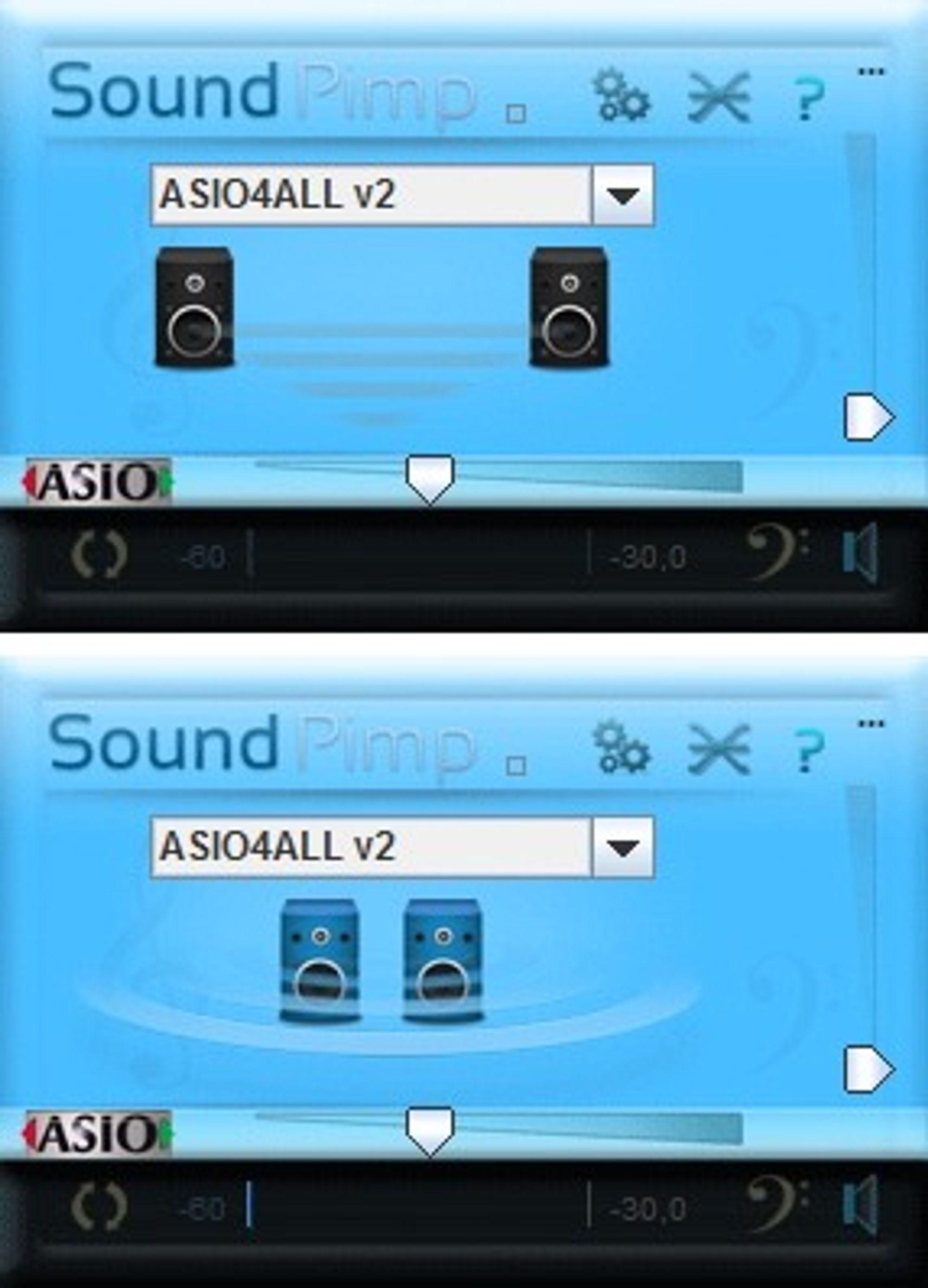 Musikkontroll: I SoundPimps kontrollpanel kan man velge mellom vanlig stereo og stereo som er forbedret og man kan justere virkningen av algoritmene.