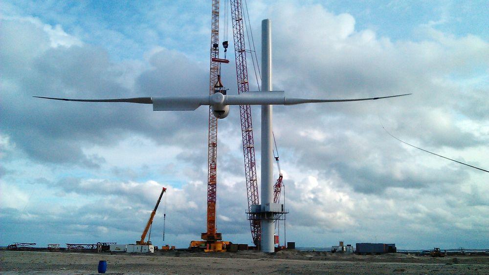Envisions vindturbin kan monteres i ett stykke.