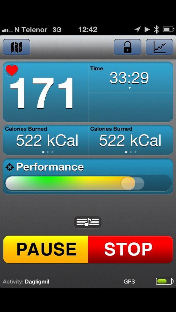 Oversiktlig og fin hovedside på appen gir deg de viktigste datene live mens du trener.