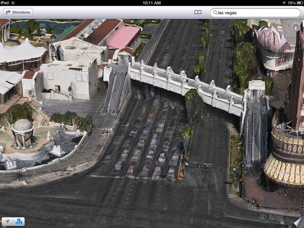 Nei, det er ikke Las Vegas som holder på å smelte. Det er bare Apple Maps tolkning.