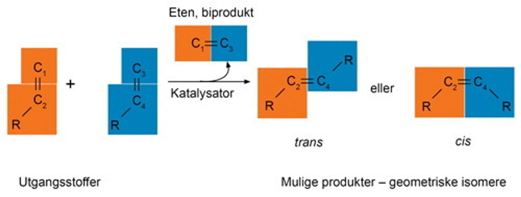 Ved olefinmetatese bytter halvdeler og danner nye alkener. Kjemiske grupper (R) som kan være korte eller lange kjeder eller ringstrukturer, er koblet til karboatomene (C) i den umetta bindingen. I produktet kan de enten være på forskjellig side av bindingen (trans-produkt), eller på samme side (cis-produkt). Katalysatoren påvirker hvor mye som blir dannet av hvert av produktene.