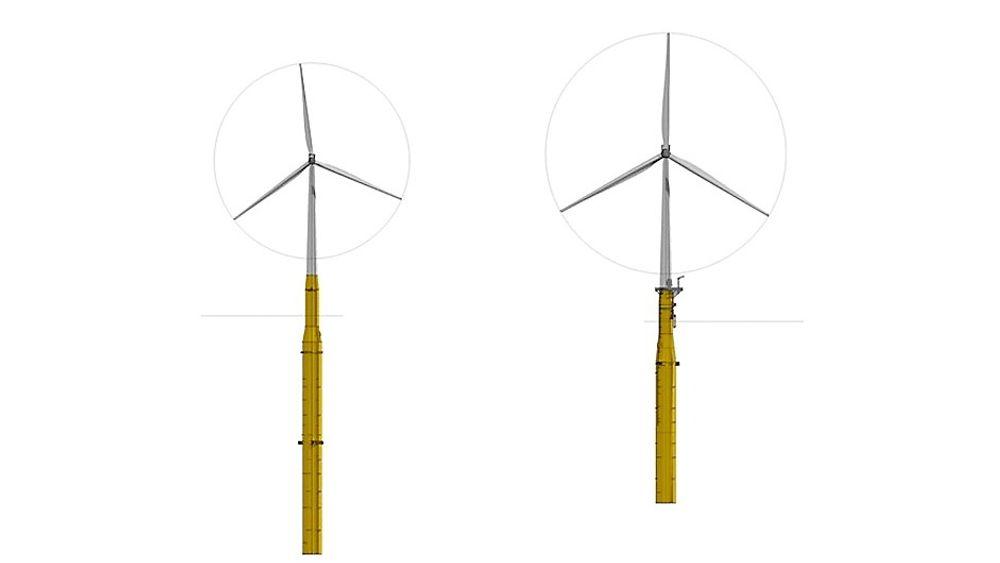 Statoil har utvilet en ny Hywind-versjon (t.h.) som har kortere, mer robust skrog. Den tillater montering i grunnere vann enn den originale (t.v.) og tåler lengre rotorblader og tyngre nacelle. (Illustrasjon: Statoil)