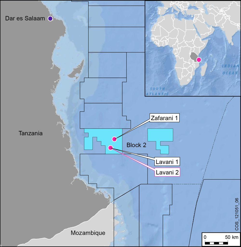 Tre funn: Lavani-2-brønnen ble boret til en samlet dybde på 5270 meter på 2580 meters vanndyp. Brønnen ligger om lag fem kilometer sørøst for Lavani-1-funnet, og 20 kilometer sør for Zafarani-1-brønnen.