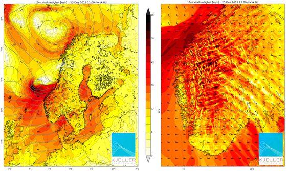 Dagmar blåste sterkest på Vestlandet. Kartene viser vindhastigheten  25. desember klokken 22.00, fra lyst til mørkt  i meter per sekund.