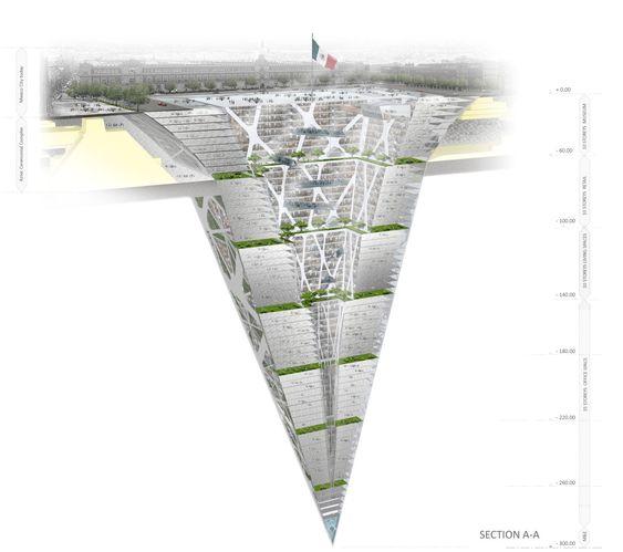 STREKKER SEG NEDOVER: BNKR Arquitectura drømmer om en jordskaper under Zocalo i Mexico City.