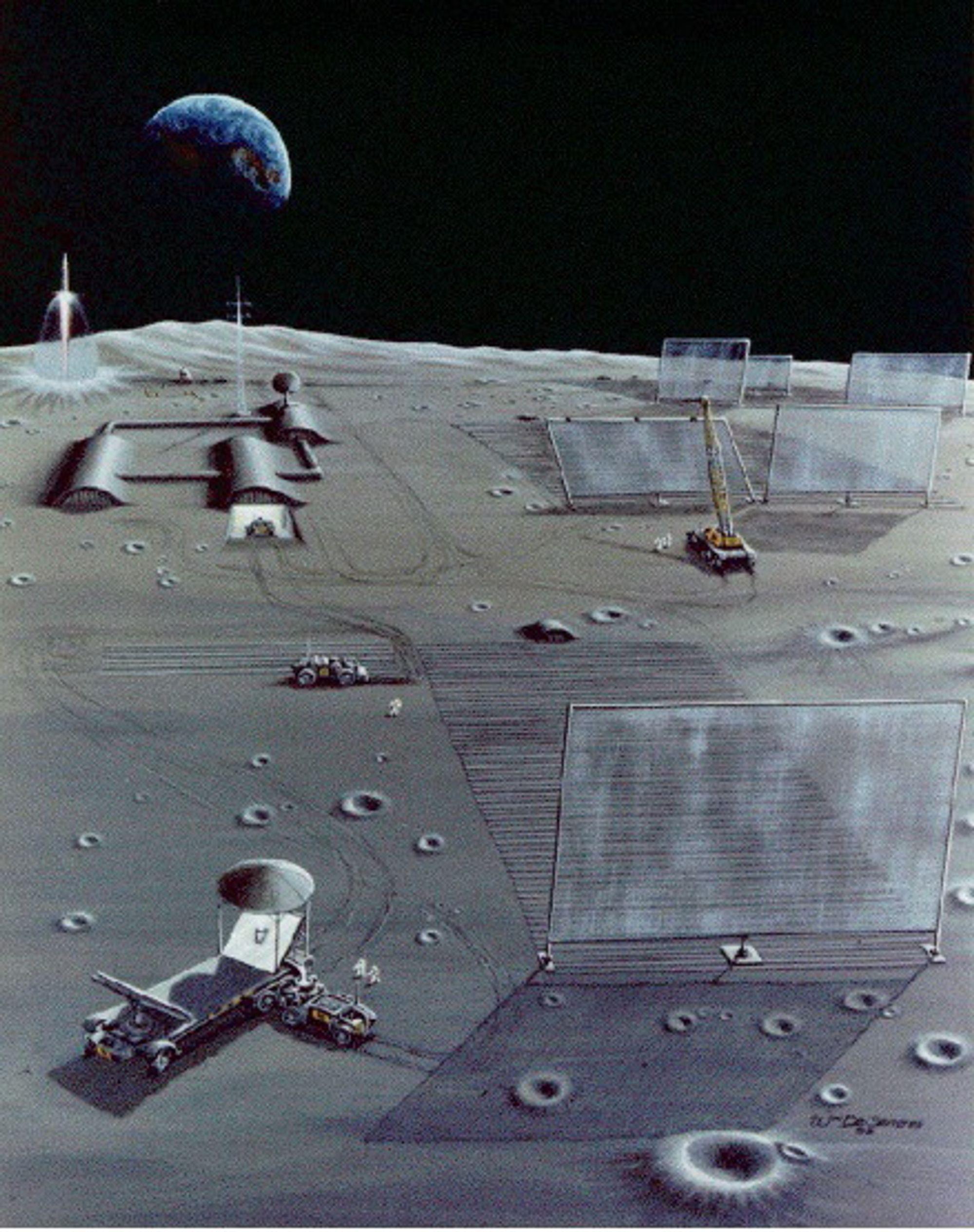 SOLKRAFT PÅ MÅNEN: Kanskje kan et Lunar Solar Power (LSP) felt se slik ut. Ifølge Nasa er det mulig å lage solceller av månederiverte materialer. Et LSP felt består av mikrobølgerefelktor, et område med solceller, og mikrobølgesendere, i bakgrunnen.