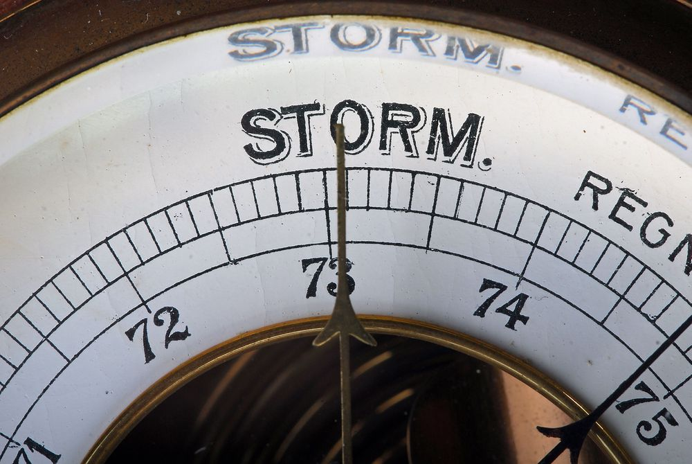 Barometer showing change in weather. Storm.