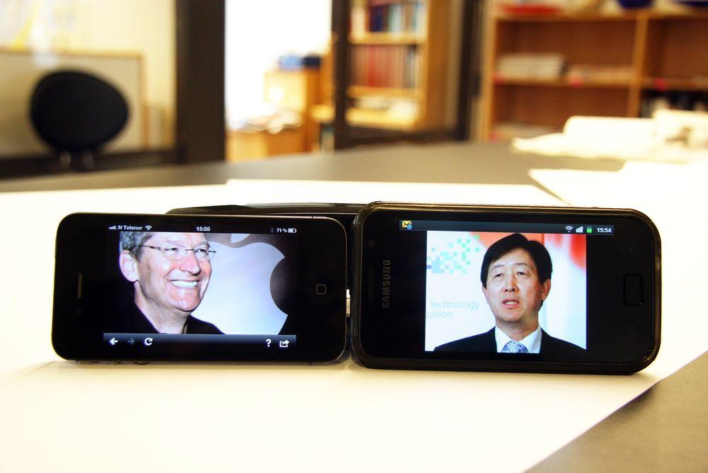 BLIR DE BESTEVENNER?: Apples toppsjef, Tim Cook, og Samsungs tilsvarende, Choi Gee-sung, skal på date i San Jose sammen med dommer Lucy Koh.