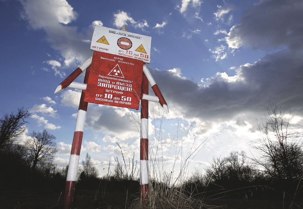 In this Wednesday, March 23, 2011 photo a radiation danger sign  is  seen in the state radiation ecology reserve in the village of Babchin, near the 30 km exclusion zone around the Chernobyl nuclear reactor, some 370 km ( 231 miles) south-east of Minsk, Belarus. The Chernobyl reactor exploded on April 26, 1986 spewing fallout in the world's worst nuclear accident. (AP Photo/Sergei Grits)