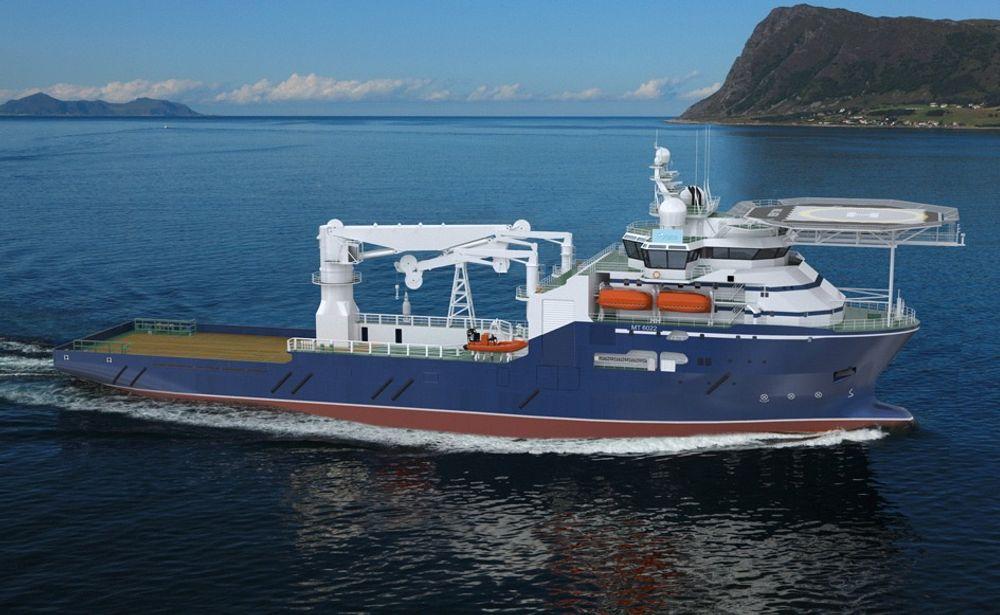 LØFT: Konstruksjonsfartøyet med MT6022 design fra MArin Teknikk skal bygges ved Kleven Verft for Rem Offshore. Skipet  blir 108 meter langt, 22 meter bredt og lugarplass til 110.  Skipet utstyres med en kran som kan løfte 250 tonn og senke ned til 650 meters dyp, eller 135 tonn på 3000 meters dyp.