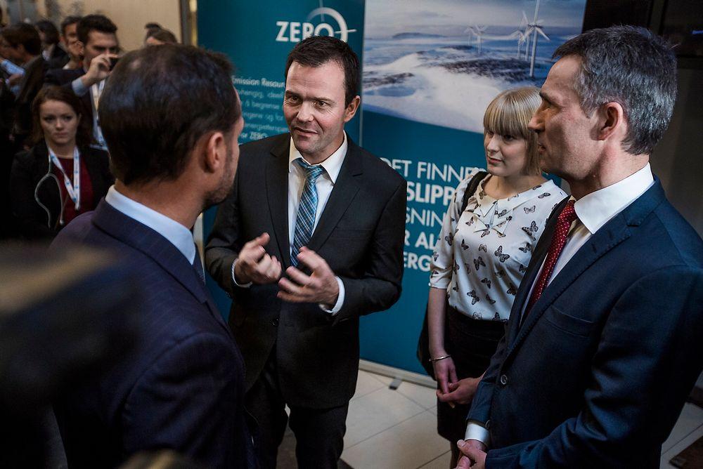 KLIMA: Zero-leder Marius Holm og nestleder Kari Kaski lanserte sitt forslag overfor kronprins Haakon og statsminister Jens Stoltenberg. FOTO: Håkon Jacobsen