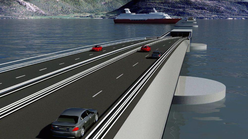 DYKKER: En rørbru som dykker under havflaten kan bli fremtidens kryssing av Sognefjorden.