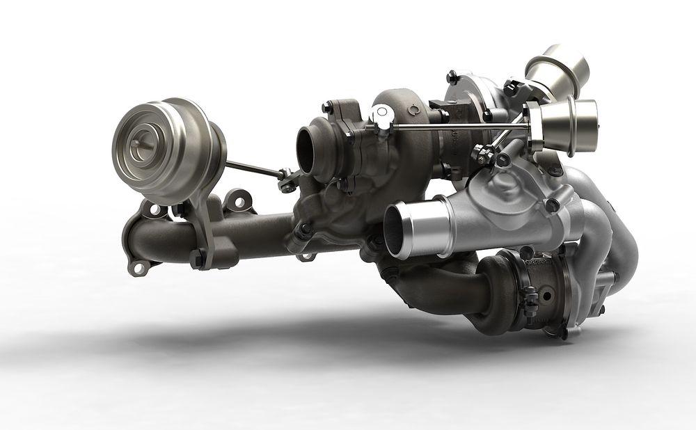 Totrinnsturbo: Den beste, men også dyreste, løsningen på at en turbo virker best på et turtallsområde, er å ha to. En med liten diameter som reagerer raskt ved liten eksosgassmengde og lite masse som skal akselereres, og en stor som kan ta de store volumene som kommer når turtallet øker.