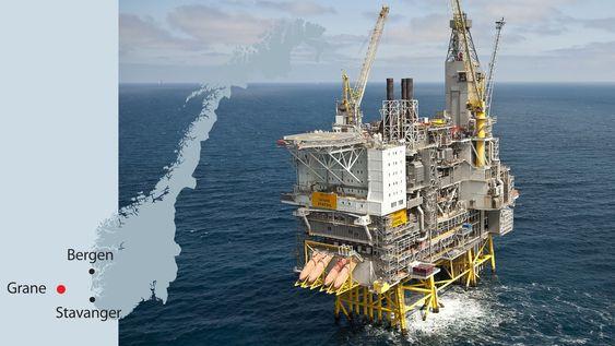 """Oljefeltet Grane ligger 59 grader 13' 12"""" nord, og 2 grader 29' 24"""" øst i blokk 25/11, øst for Balder."""